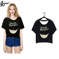 """Lei-SAGLY 2016 """"We're All Mad Here"""" Harajuku T-shirt Short Crop Tops Punk Sleeve Women Clothes Summer Style O-Neck T shirts F977"""