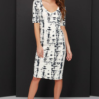 Marbled and All Black and Cream Print Midi Dress