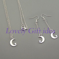 Moon necklace Moon earrings Tiny moon with star charm Silver chain Bridesmaids earrings Maid of honor necklace wedding jewelry,Friendship