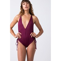 Playground Cinched Tie Side One Piece Swimsuit - Berry Red