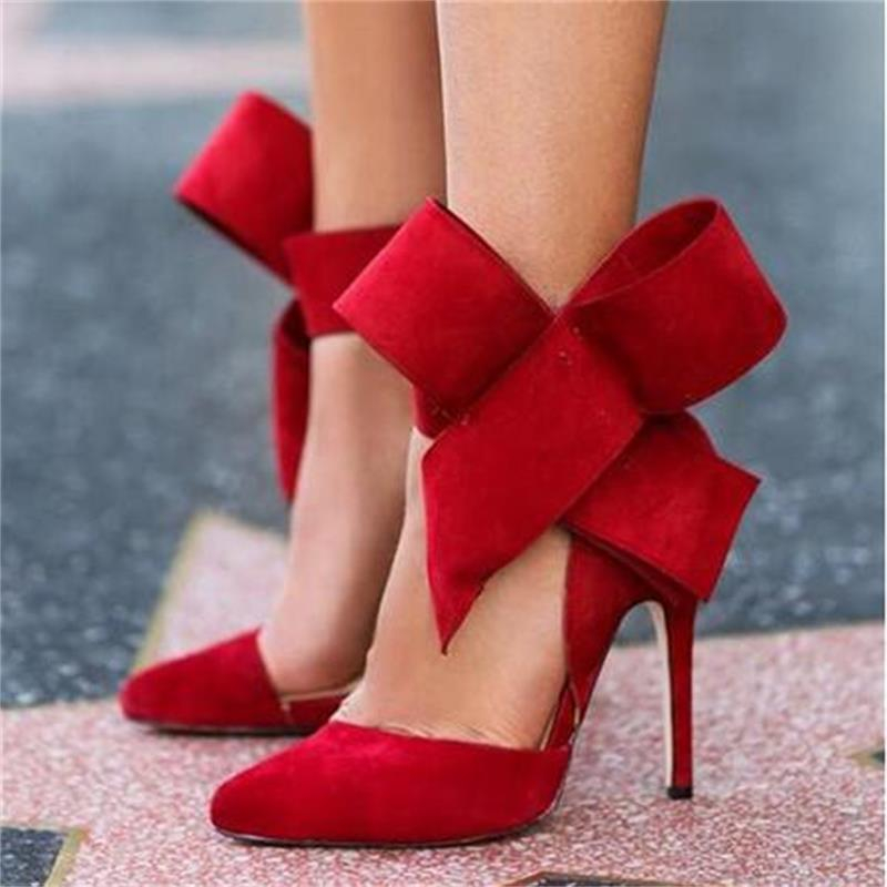 Image of Women Big Bow Tie Pumps Butterfly Pointed Stiletto Shoes Woman High Heels Wedding Shoes