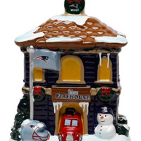 New England Patriots NFL Football Christmas Holiday Village Firehouse Figurine