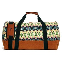 Multi-Color Brown Canvas Duffle Bag