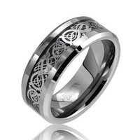 Bling Jewelry Tungsten Celtic Dragon Black Inlay Flat Comfort Fit Wedding Band