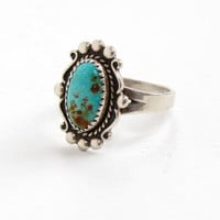 Vintage Sterling Silver Turquoise Blue Stone Ring- Size 7.5 Retro Southwestern Native American Style Jewelry Hallmarked Bell Trading Co.
