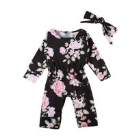 Girls Floral Romper Long Sleeve Jumpsuit +Headband  Outfits Clothes Set