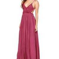 ONETOW Rose V-neck Spaghetti Strap Cutout High Waist Pleated A-Line Maxi Dress