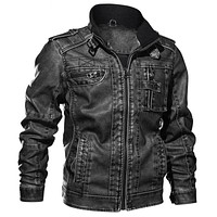 Men's Motorcycle Leather Jacket - 3 Colors