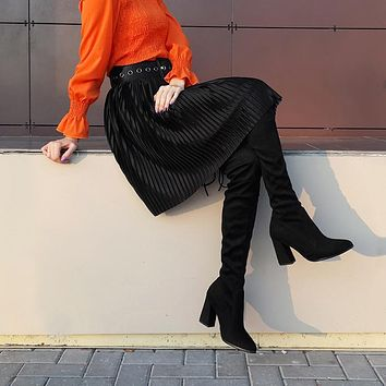 Leather Women Over The Knee Boots Lace Up Sexy High Heels Woman Shoes Women