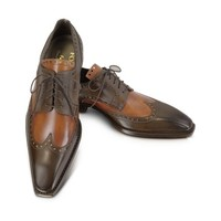 Forzieri Designer Shoes Two-Tone Italian Handcrafted Leather Wingtip Oxford Shoes