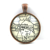 Berlin, Germany, Pendant from Vintage Map, in Glass Tile Circle