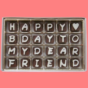 Happy B Day To My Dear Friend Cubic Chocolate Letters Cute Birthday Gift for BFF Best Forever Co Worker WARM WEATHER Shipping