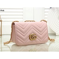 GUCCI new tide brand female models plaid chain bag slanting small square bag Pink