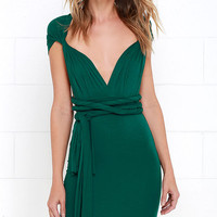 Right of Way Convertible Forest Green Dress