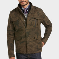 EGARA OLIVE AND BLACK CAMOUFLAGE SLIM FIT JACKET