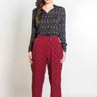 High Waisted Trousers in Berry & Black Sketched Plaid