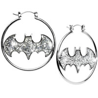 Glitter Logo Batman Hoop Earrings | Body Candy Body Jewelry