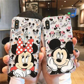 Cute Cartoon Mickey Minnie Mouse Soft Clear Case Cover For iphone XS Max XR X Case For iphone 6 6S 8 7 plus Pooh Silicone Case