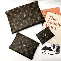 LV Louis Vuitton Fashion New Monogram Print Women Casual Business Three Piece Suit Wallet Handbag