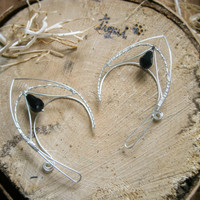 Silver plated earcuffs, elf ear cuffs, elven earcuffs with black crystals, statement earrings, woodland, vulcan ears,