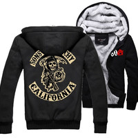 Xmas Gift Sons of Anarchy Thickening cotton-padded jacket SOA winter warm Hoodie Flannel Coats Soft Comfort Cashmere Sweatshirts = 1930448708