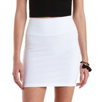 White High-Waisted Bodycon Mini Skirt by Charlotte Russe