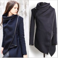 Asymmetric Leather Splicing Wrap Style High Neck Winter Wool Coat