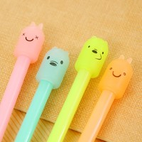 1Pcs Kawaii Cute Animal Candy Color 0.38mm Plastic Silicone Gel Pen Office School Gift Stationery Pen E0128