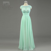 Modest High Neck Coral Bridesmaid Dresses Gown Sleeves See Through Applique A Line Chiffon Prom Party Dress 2015