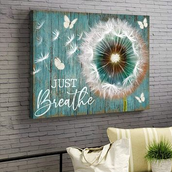Dandelion and Butterfly Just Breathe Canvas Wall Art, 5 Sizes
