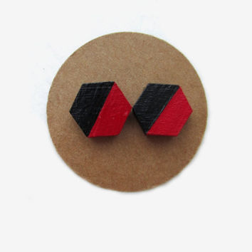 Georgia Wooden Hexagon Red Black Gameday Earrings // Red and Black // Wooden Earrings // Georgia Earrings // SEC // Black and Red // Studs