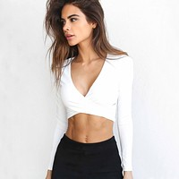 Sexy Velvet Autumn Women Short T-shirts Deep V-neck Long Sleeve Solid Slim Fit 2018 Ladies Wrap T Shirt Crop Tops Tees Low Cut