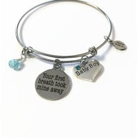 """Baby Boy Expandable Bangle Its a Boy Bangle Bracelet New Mom Charm Bangle """"Your First Breath Took Mine Away"""" Adjustable Stacking Wire Bangle"""