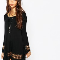 Lira Long Bell Sleeve Dress With Crochet Seeve & Hem Detail