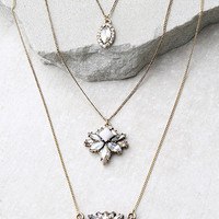 Recharge Gold and Ivory Rhinestone Layered Necklace