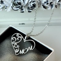 """Korean mother and child love """"Mom"""" crystal pendant necklace Mother's Day gifts sweater chain necklace for mother"""