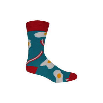 Bacon and Eggs Crew Socks in Capri Teal