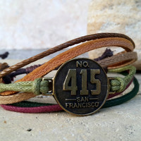 FREE SHIPPING-Bronze San Francisco 425 Label Logo, Men, Woman Bracelet, Multi Color and Strands. Handmade, Country Jewelry, Unisex. 103