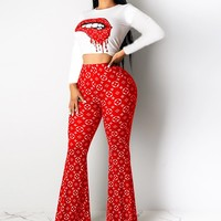 Louis Vuitton LV Popular Women Casual Lip Print Long Sleeve High Waist Top Pants Set Two-Piece Red