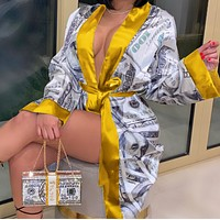Women's fashion European and American dollar print lace-up trench coat mid-length home service