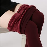 plus cashmere leggings woman girls Casual Warm Winter Faux Velvet Knitted Thick Slim Leggings Super Elastic free shipping