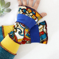 Fingerless gloves long, Women multi-colored gloves, Blue mustard oilman gloves, Wool velvet gloves, Armwarmers, Wristwarm, Christmas gifts