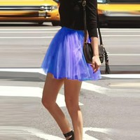 Royal Blue Pleated Grenadine Fluffy High Waisted Flowy Skater Tutu Cute Short Skirt
