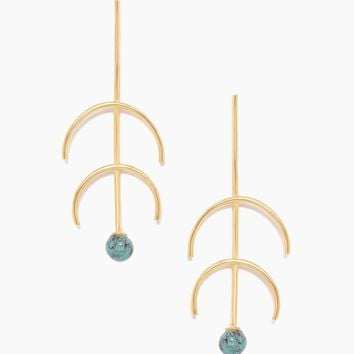 Sequence Turquoise Double Arc Earrings - Gold