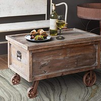 "30"" Distressed Trunk Coffee Table with Casters Support, Brown By The Urban Port"
