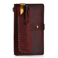 Handmade Refillable Leather Travelers Journals Pencil Case Set of Two (Dark Red)