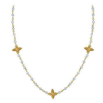 """CHG-197-RM-18"""" 18K Gold Overlay Necklace With Rainbow Moonstone"""