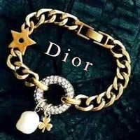 Free shipping-Dior full diamond ring retro versatile bracelet necklace necklace