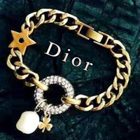 Dior full diamond ring retro versatile bracelet necklace necklace