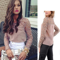 Lace-Paneled Long Sleeve Chiffon Blouse